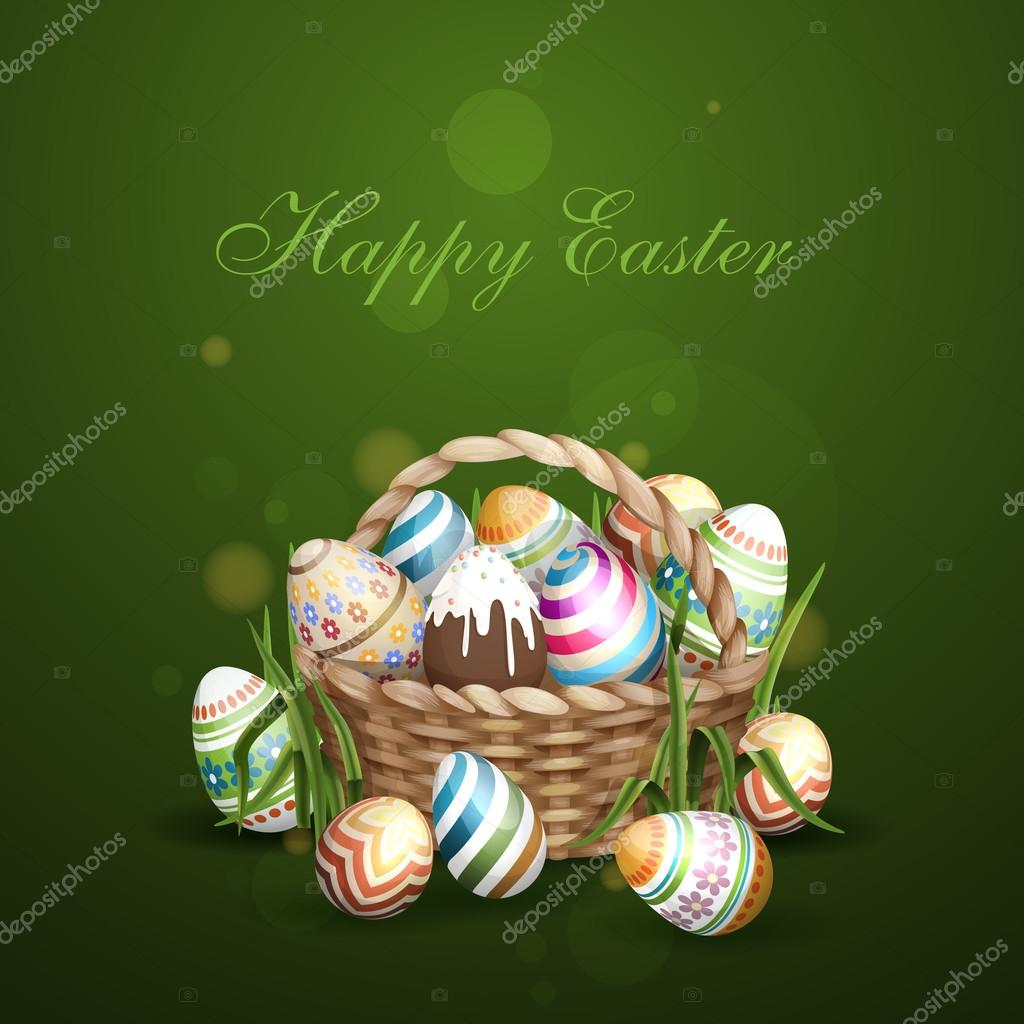 Easter Background With A Basket