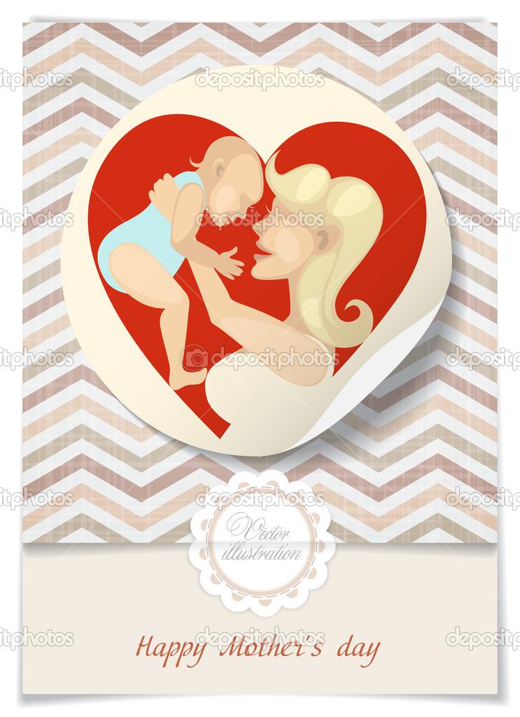 День матери стикер открытка, поздравление первым
