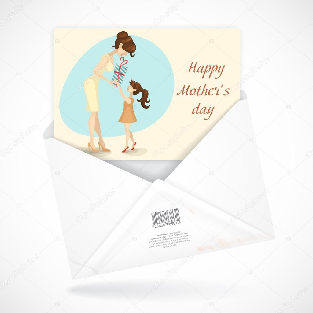 kleine Tochter gibt Mutter ein Geschenk zum Muttertag — Stockvektor ...