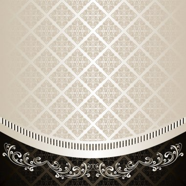 Luxury Background decorated a Vintage ornament: silver and charcoal.