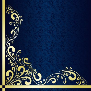 Luxury dark blue Background decorated a gold border.