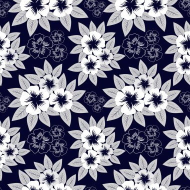 Seamless navy blue pattern with white flowers