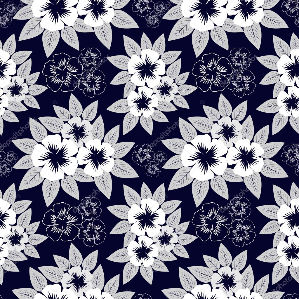 Seamless Navy Blue Pattern With White Flowers Stock Vector