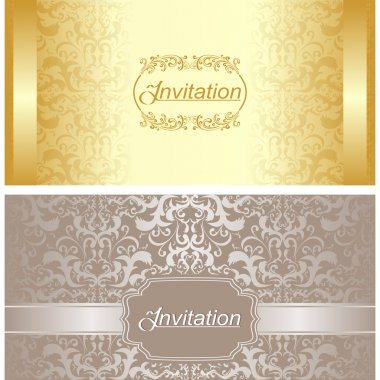 Invitation card design in gold and silver colors