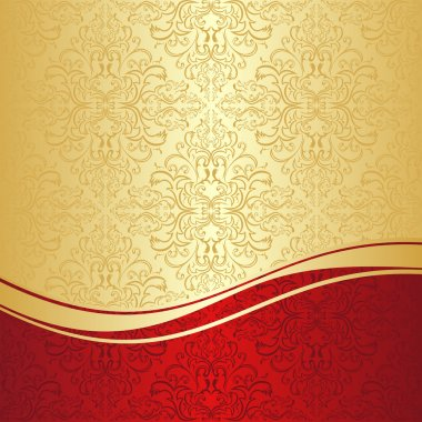 Luxury ornamental Background: gold and red.