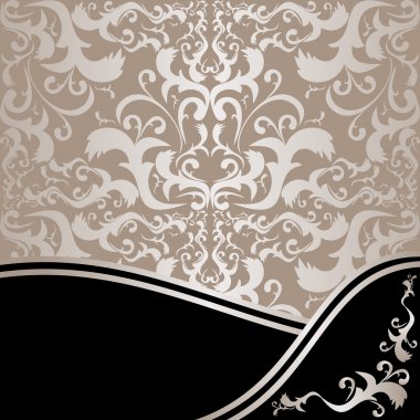 Luxury ornamental Background: silver and black