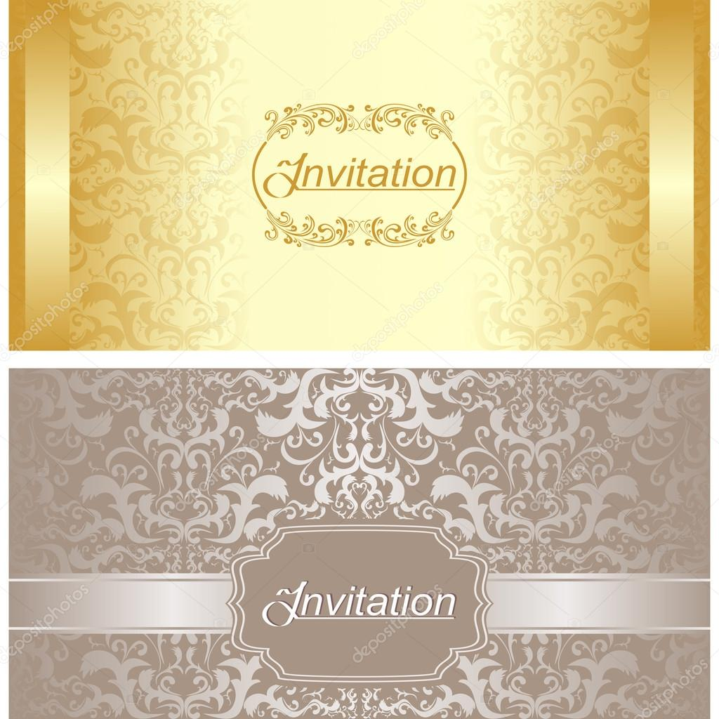 Invitation card design in gold and silver colors stock vector invitation card design in gold and silver colors stock vector stopboris Images