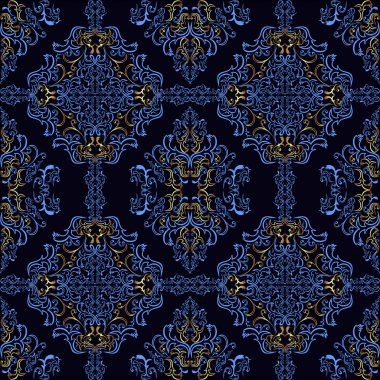 Dark blue retro Wallpaper with golden elements.