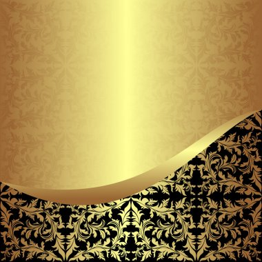 Luxurious golden ornamental Background with black Border.