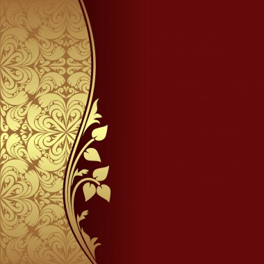 Luxury dark red Background decorated a golden ornamental Border with floral elements.