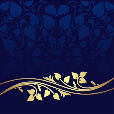 Navy blue ornamental Background decorated a golden floral Border.