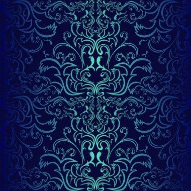 Seamless dark blue ornamental Wallpaper.