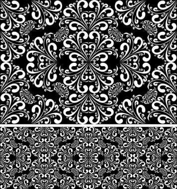 Seamless damask white Pattern on the black Background.