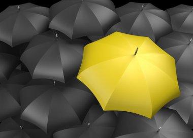 Background of umbrellas with a single Yellow umbrella