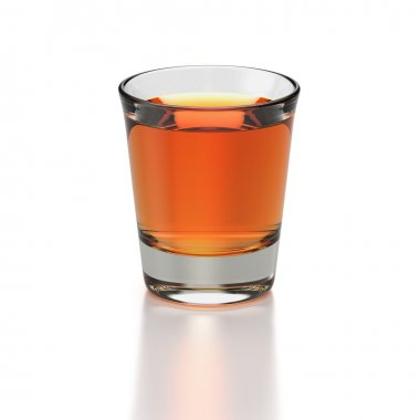 Small shot glass of whiskey