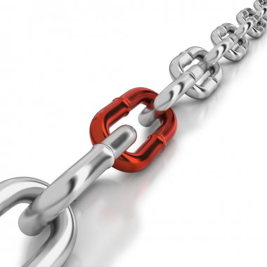 One red link in a chrome chain