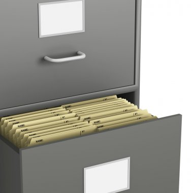 Single Grey Filing Cabinet with Open Drawer