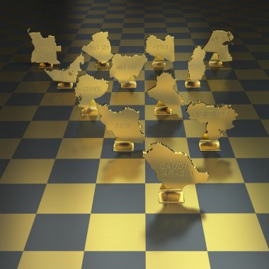Oil producing nations on chessboard background