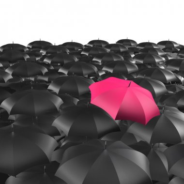 Background of umbrellas with a single Red umbrella