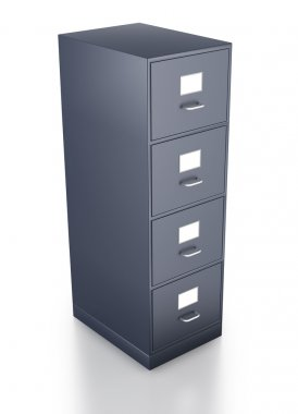 Looking down on single grey filing cabinet
