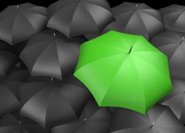 Background of umbrellas with a single Green umbrella