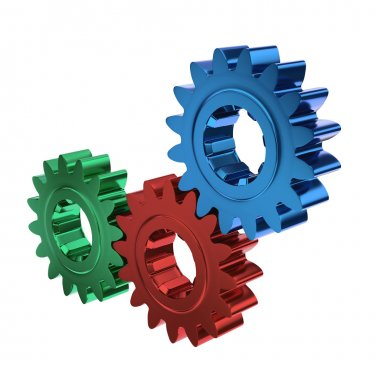 Colored cogs or gears working together