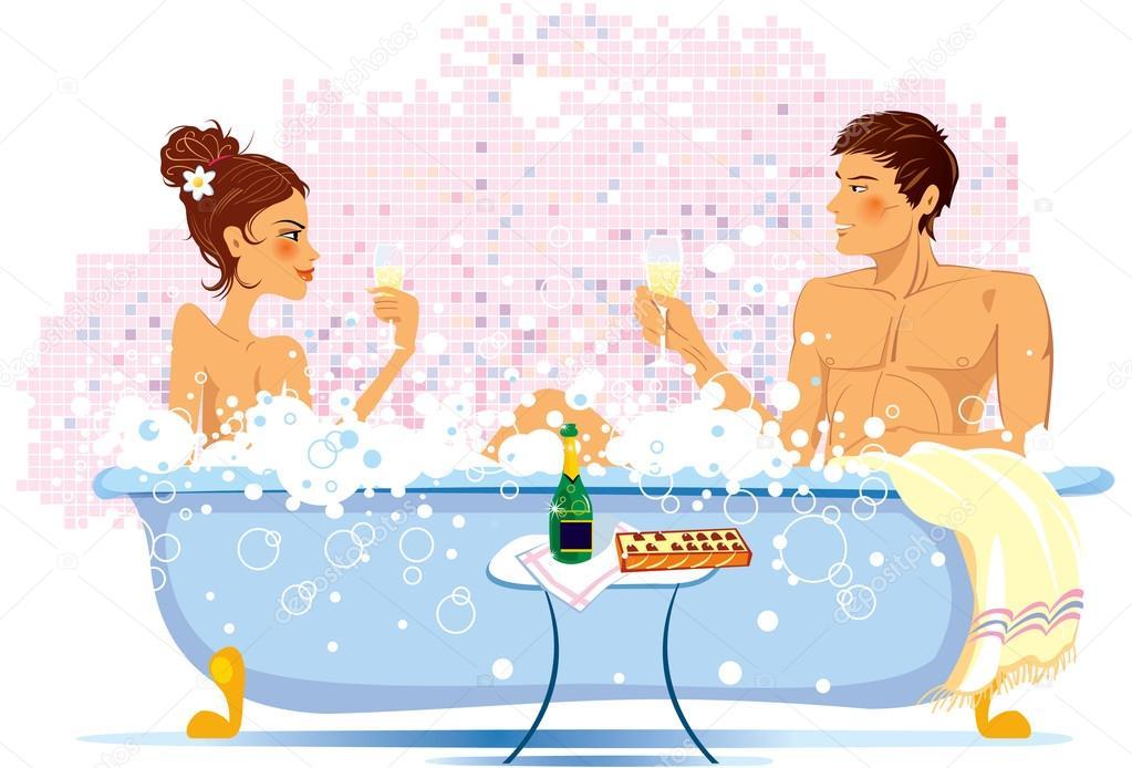 Две милашки с парнем плещутся в ванной фото 597-118