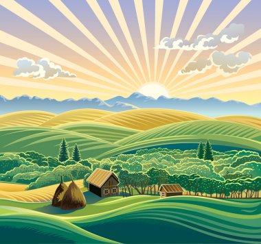 "Картина, постер, плакат, фотообои ""Сельский пейзаж с хижина"", артикул 17655753"