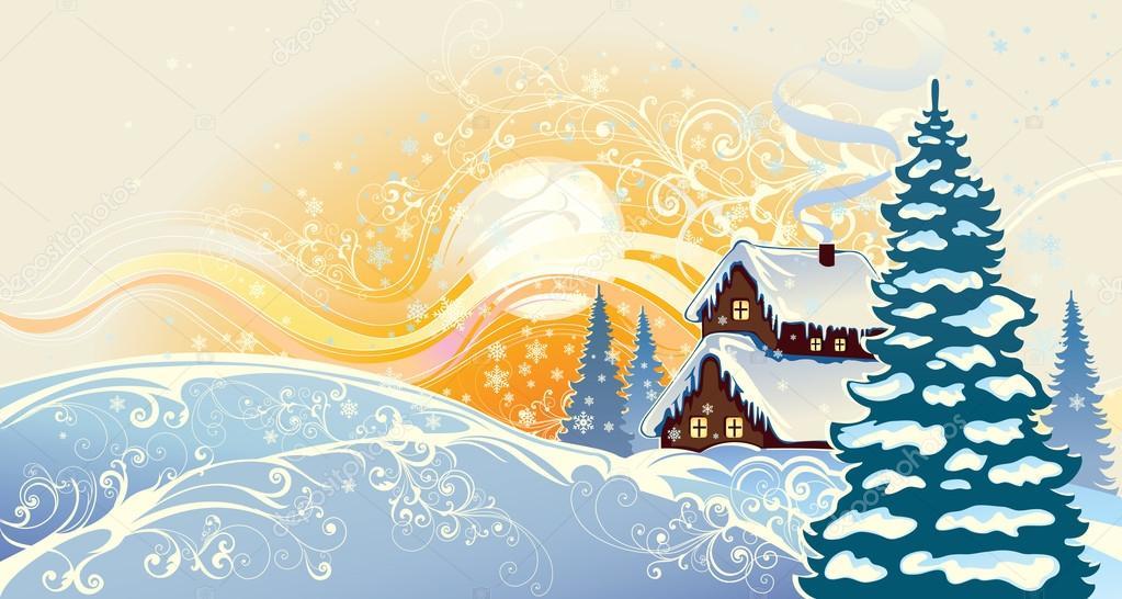 Winter christmas landscape.