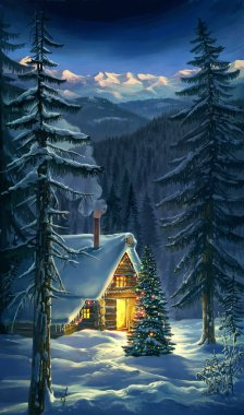 Christmas. New Year winter landscape.