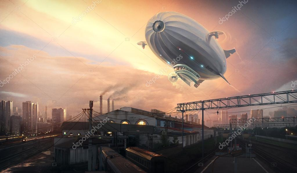 Dirigible in sky over