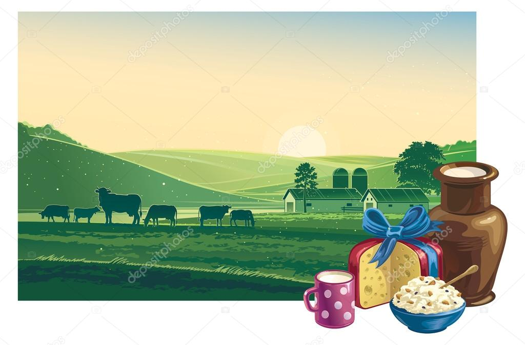 Landscape with cows  and dairy products