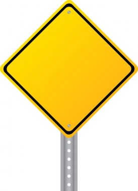 Blank yellow road sign isolated on white