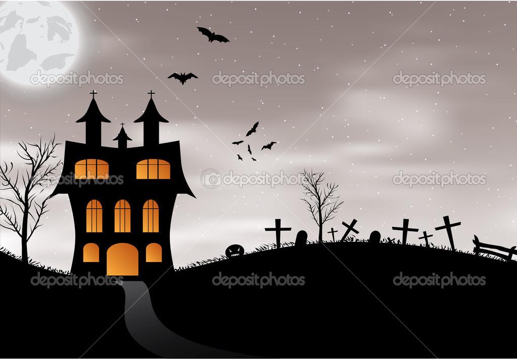 Halloween-Karte mit Schloss, Kürbis, Fledermäuse und Mond ...