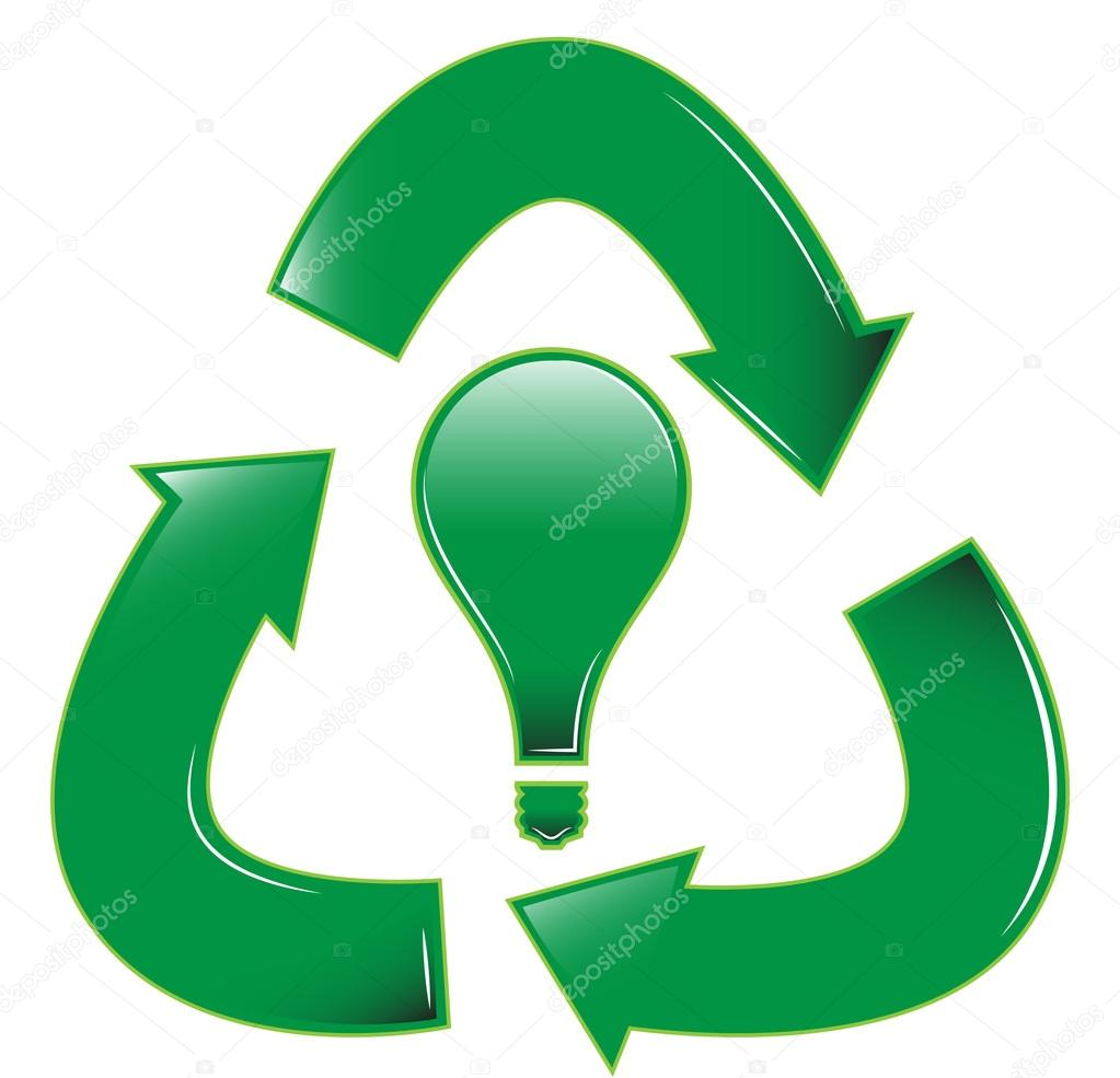 A Recycle Symbol With A Light Bulb In The Middle U2014 Vector By Zethinova1