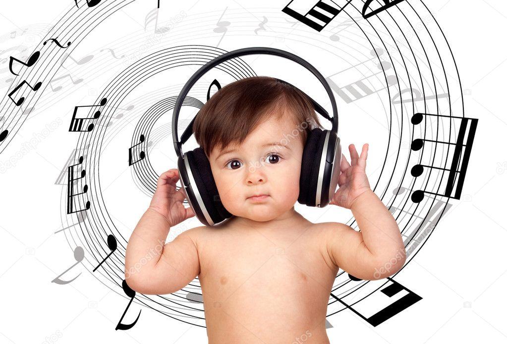Adorable baby girl with big headphones — Stock Photo ...