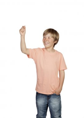 Smiling boy raising his arm holding something