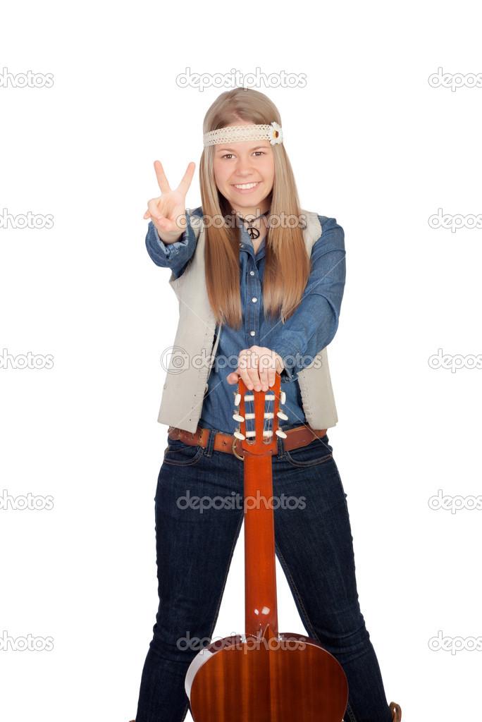 Hippie Kleding.Mooi Meisje Met Hippie Kleding En Een Gitaar Stockfoto C Gelpi