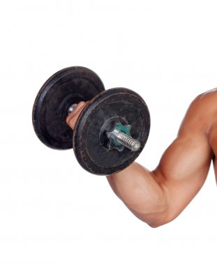 Muscled arm lifting weights