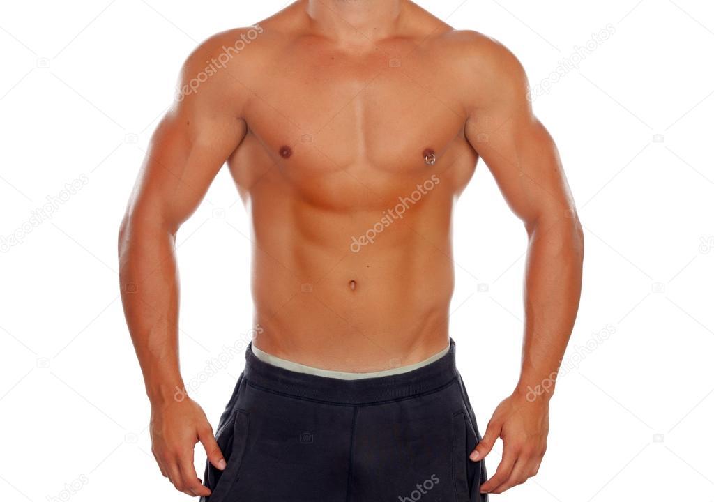 schöner nackter Oberkörper junger Mann mit definierten Muskeln und ...