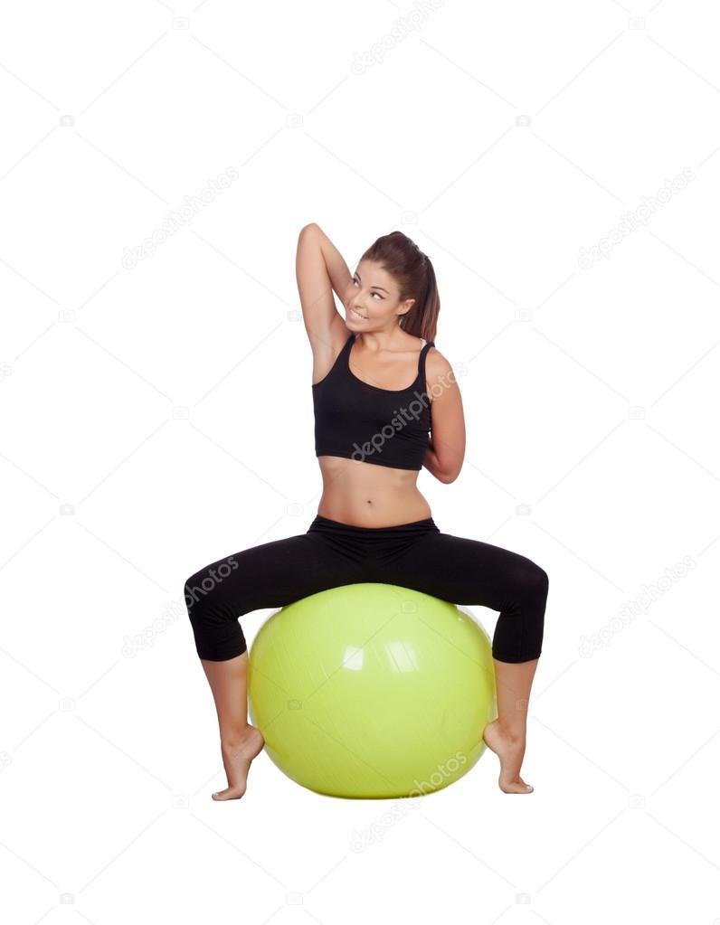 junge sch ne frau sitzen auf einem gymnastikball dehnung arm stockfoto gelpi 30968167. Black Bedroom Furniture Sets. Home Design Ideas