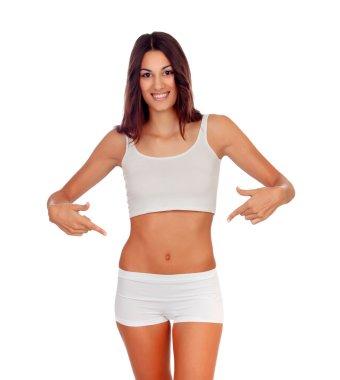 Girl in white underwear indicating her body