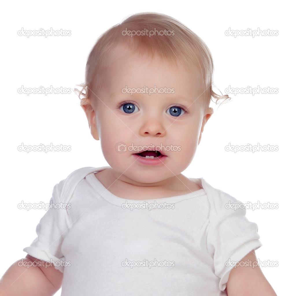 a09558fce Adorável bebê loira em roupas íntimas isoladas no fundo branco — Fotografia  por ...