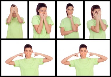 Collage of photos from a woman expressing different emotions