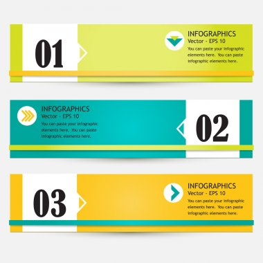 Modern bright infographic set of three colorful abstract banners