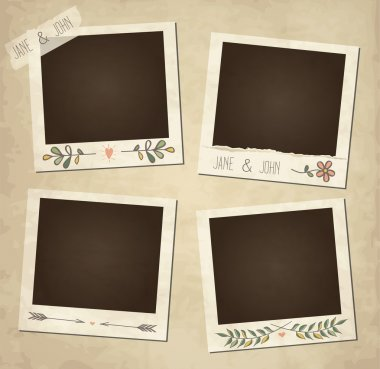 Scrap template of vintage worn distressed design with photo frames and other elements