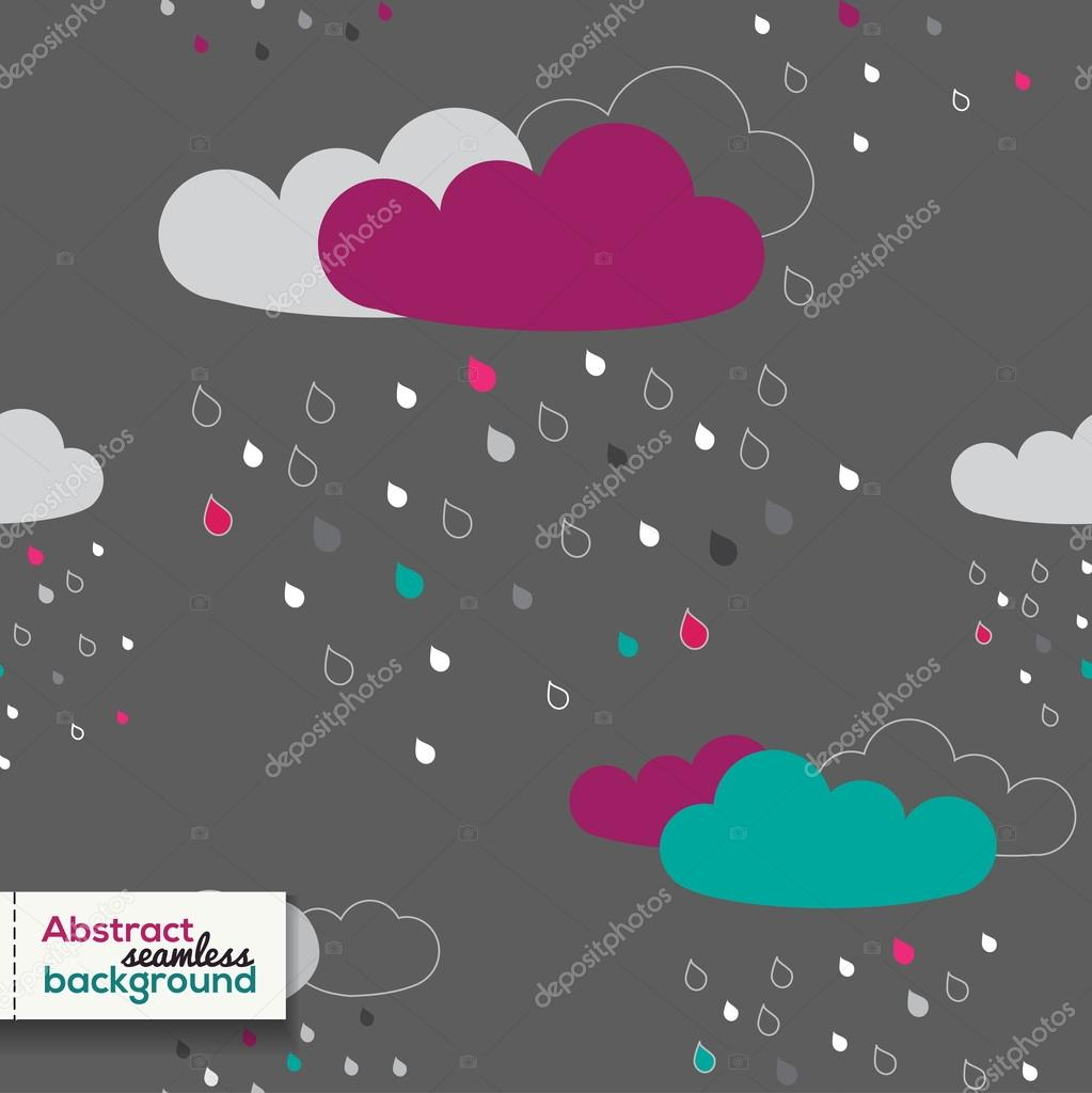 Cloud Rain seamless pattern. Dark background. Vector illustration.
