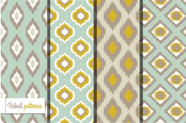 Retro ikat tribal seamless patterns