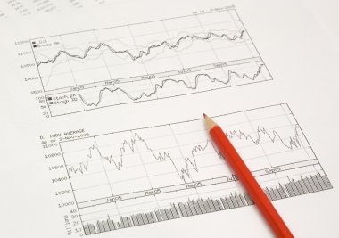 stock graphs and pencil