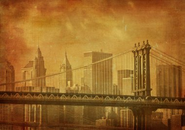 vintage grunge image of new york city